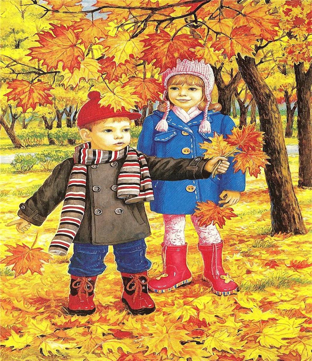 Картинки чем занимаются дети осенью