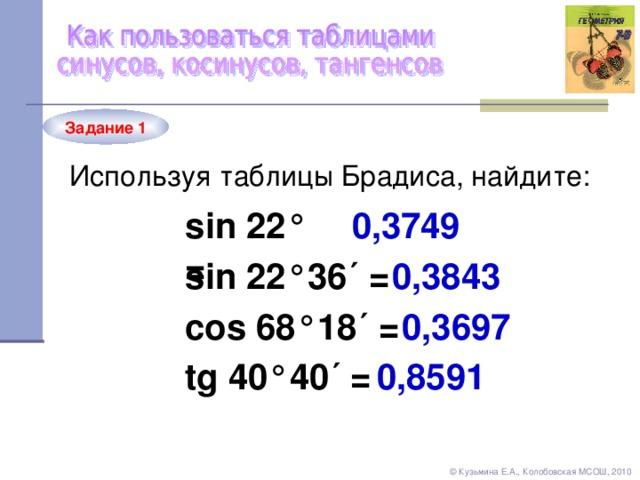 Задание 1 Используя таблицы Брадиса, найдите: sin 22 ° = 0,3749 sin 22 °36´ = 0,3843 cos 68 °18´ = 0,3697 tg 40 °40´ = 0,8591 © Кузьмина Е.А., Колобовская МСОШ, 2010
