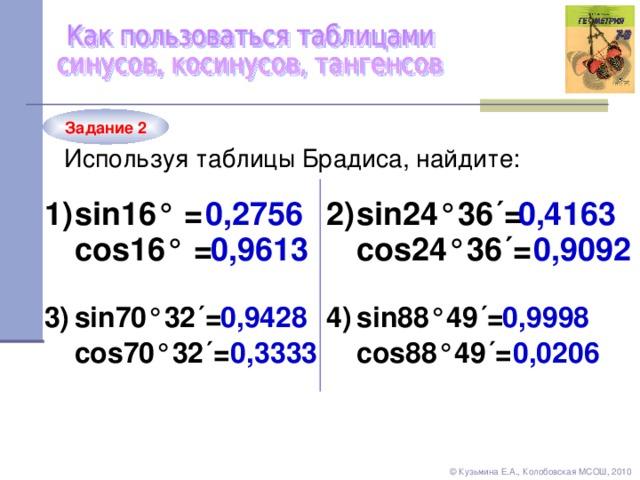 Задание 2 Используя таблицы Брадиса, найдите: sin 16 ° = 1) 0,4163 0,2756 sin24 °36´= 2 ) 0,9092 0,9613 cos24 °36´= cos 16 ° = sin88 °49´= 4 ) 3 ) sin70 °32´= 0,9428 0,9998 0,3333 0,0206 cos88 °49´= cos70 °32´= © Кузьмина Е.А., Колобовская МСОШ, 2010
