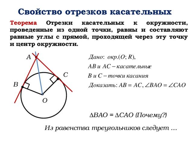 Свойство отрезков касательных Теорема Отрезки касательных к окружности, проведенные из одной точки, равны и составляют равные углы с прямой, проходящей через эту точку и центр окружности. А C B О ΔBAO = ΔCAO (Почему?) Из равенства треугольников следует …