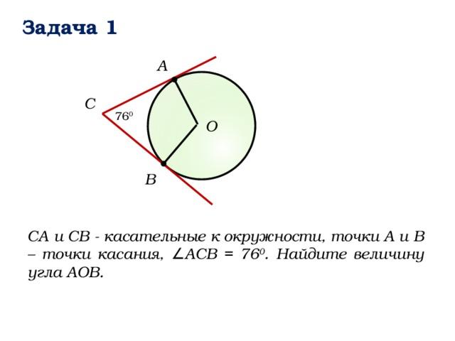 Задача 1 А C 76 0 О B СА и СВ - касательные к окружности, точки А и В – точки касания, ∠АСВ = 76 0 . Найдите величину угла АОВ.