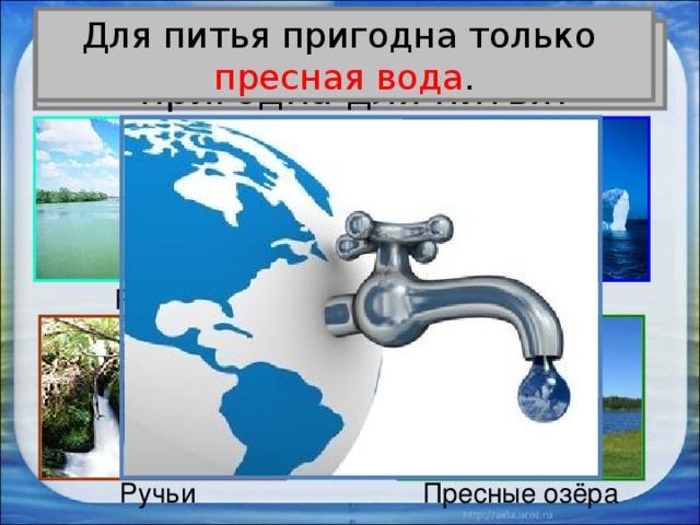 Для питья пригодна только пресная вода . Вся ли вода на Земле  пригодна для питья? Ледники Реки Ручьи Пресные озёра