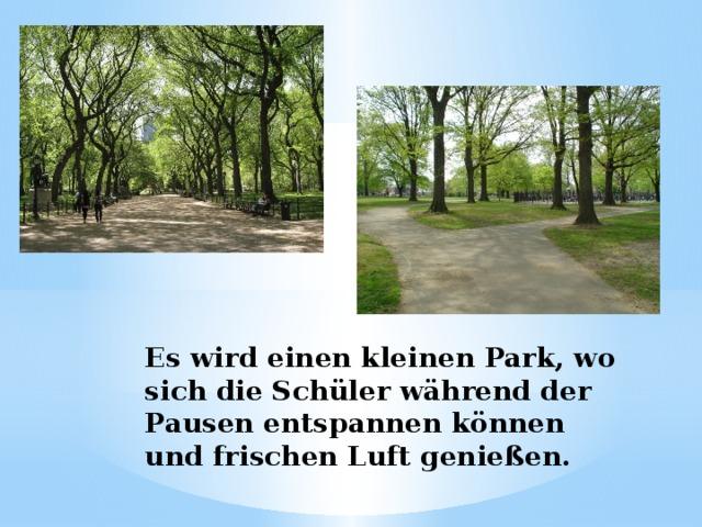 Es wird einen kleinen Park, wo sich die Schüler während der Pausen entspannen können und frischen Luft genießen.