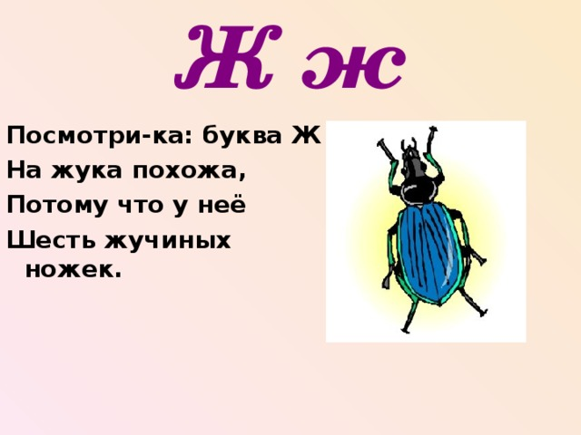 Ж ж Посмотри-ка: буква Ж На жука похожа, Потому что у неё Шесть жучиных ножек.