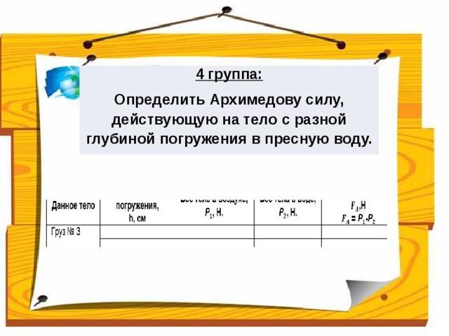 4 группа: Определить Архимедову силу, действующую на тело с разной глубиной погружения в пресную воду.