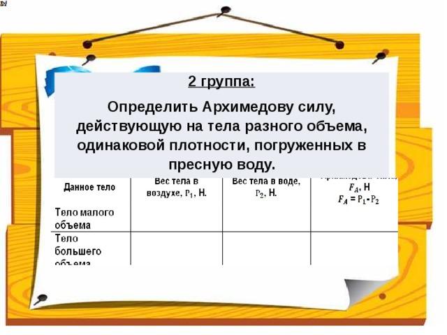 2 группа: Определить Архимедову силу, действующую на тела разного объема, одинаковой плотности, погруженных в пресную воду.