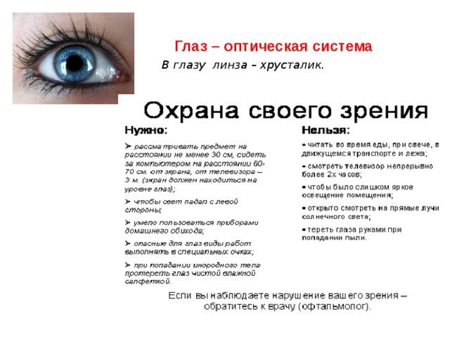 Глаз – оптическая система В глазу линза – хрусталик.