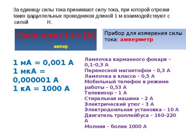 За единицу силы тока принимают силу тока, при которой отрезки таких параллельных проводников длиной 1 м взаимодействуют с силой Н. Сила тока ( I ) = [А] Прибор для измерения силы тока: амперметр      ампер Лампочка карманного фонаря – 0,1–0,3 А Переносной магнитофон – 0,3 А Лампочка в классе – 0,5 А Мобильный телефон в режиме работы – 0,53 А Телевизор – 1 А Стиральная машина – 2 А Электрический утюг – 3 А Электродоильная установка – 10 А Двигатель троллейбуса – 160–220 А Молния – более 1000 А 1 мА = 0,001 А 1 мкА = 0,000001 А 1 кА = 1000 А