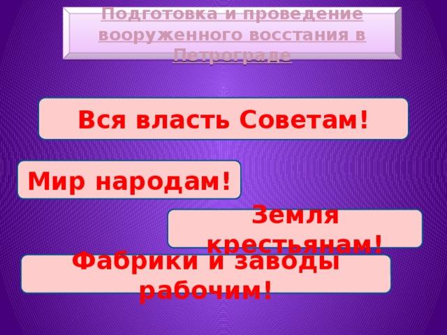 Подготовка и проведение вооруженного восстания в Петрограде Вся власть Советам! Мир народам! Земля крестьянам! Фабрики и заводы рабочим!