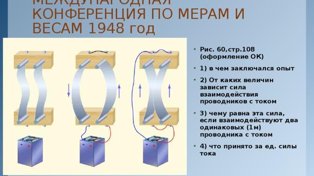 МЕЖДУНАРОДНАЯ КОНФЕРЕНЦИЯ ПО МЕРАМ И ВЕСАМ 1948 год Рис. 60,стр.108 (оформление ОК) 1) в чем заключался опыт 2) От каких величин зависит сила взаимодействия проводников с током 3) чему равна эта сила, если взаимодействуют два одинаковых (1м) проводника с током 4) что принято за ед. силы тока