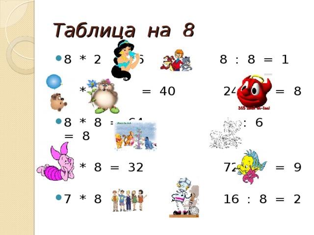 Таблица на 8 8 * 2 = 16 8 : 8 = 1 5 * 8 = 40 24 : 3 = 8 8 * 8 = 64 48 : 6 = 8 4 * 8 = 32 72 : 8 = 9 7 * 8 = 56 16 : 8 = 2