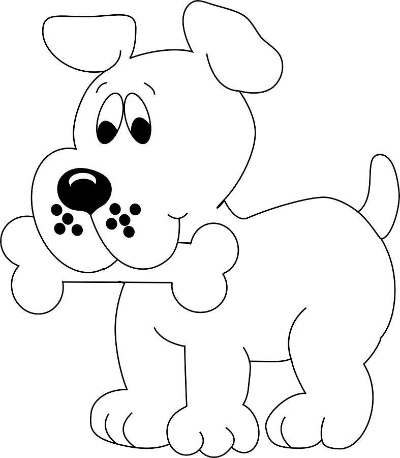 Поздравления, картинка собачки для раскрашивания