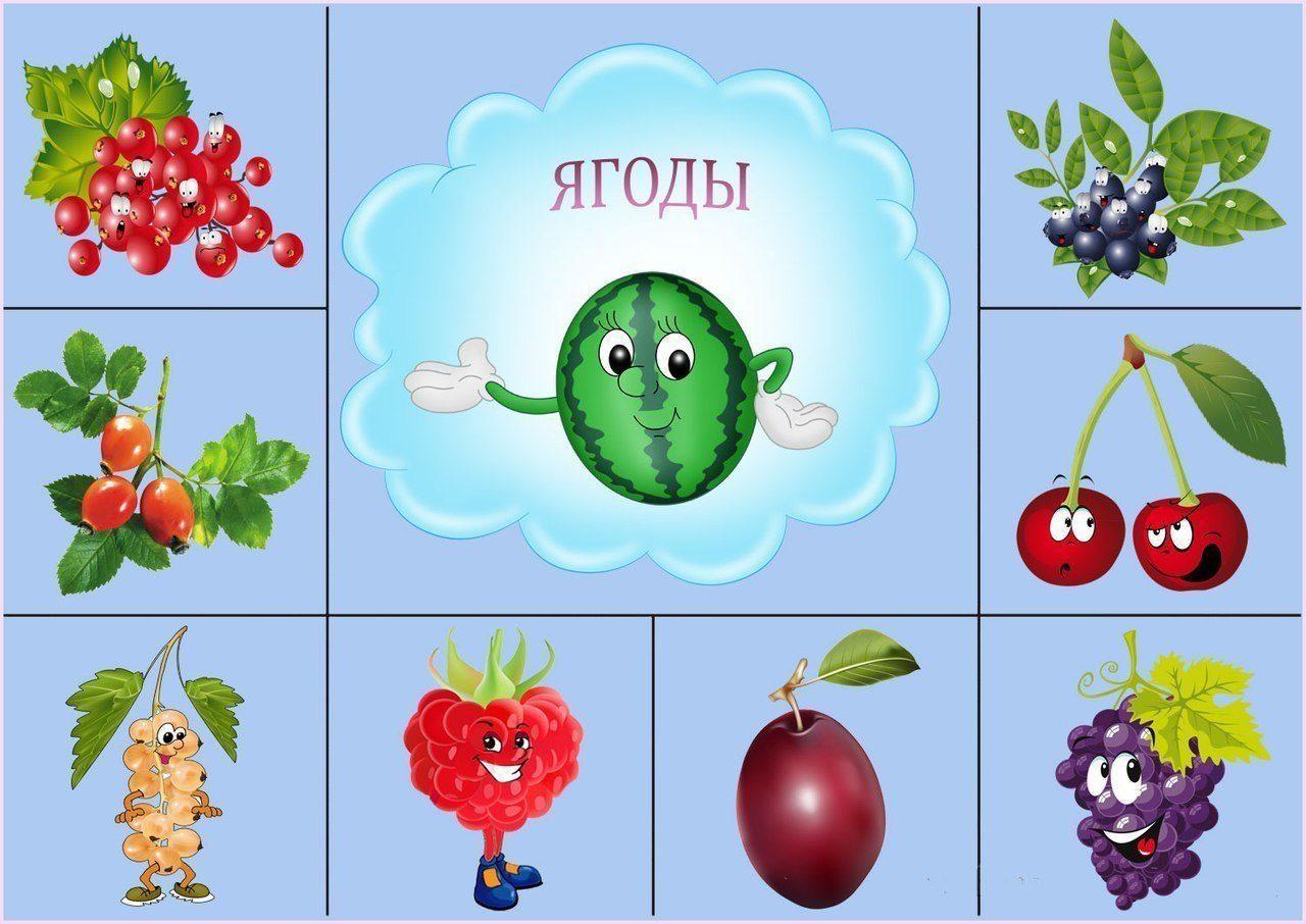 Картинки ягоды и фрукты для детей дошкольников