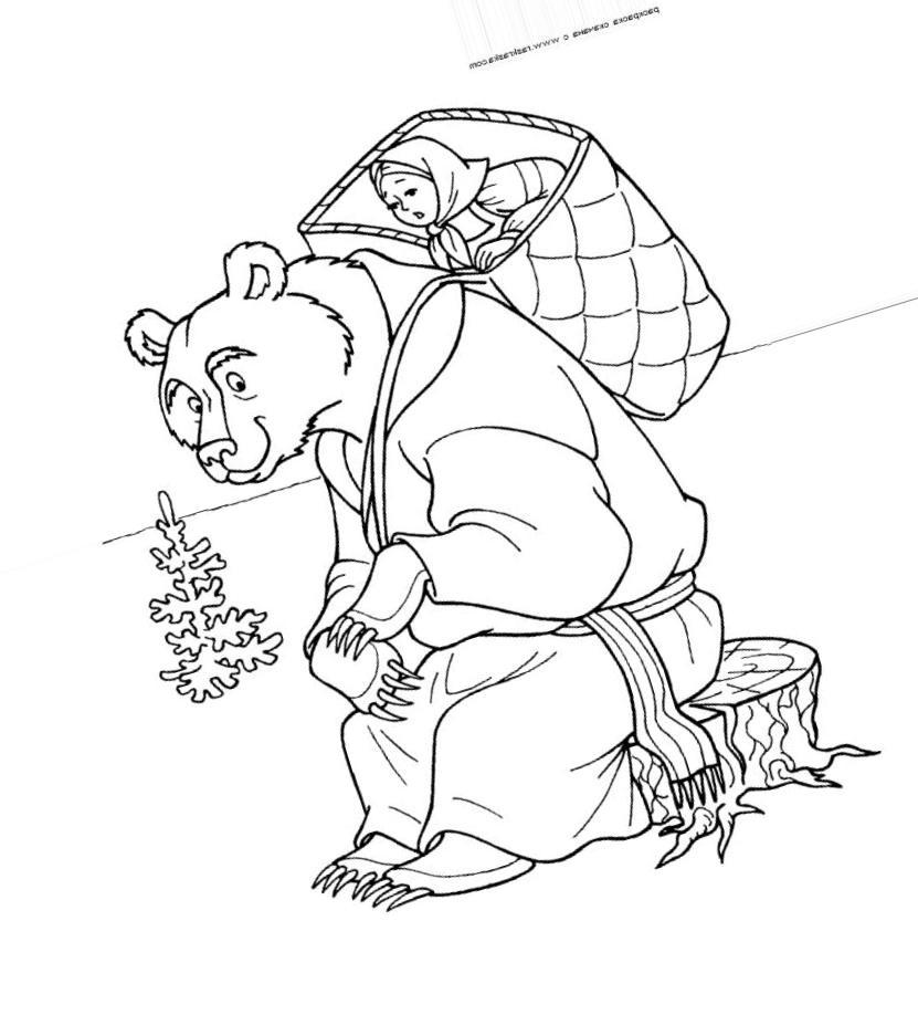 сказка маша и медведь раскраска распечатать вели непримиримую борьбу