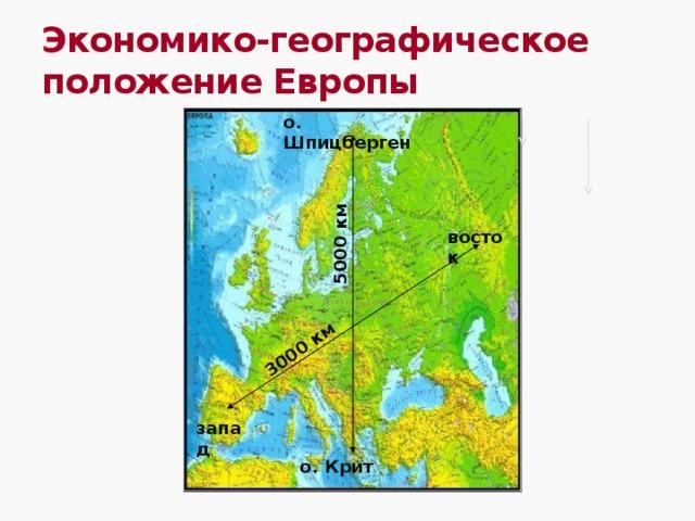 3000 км 5000 км Экономико-географическое положение Европы о. Шпицберген восток запад о. Крит