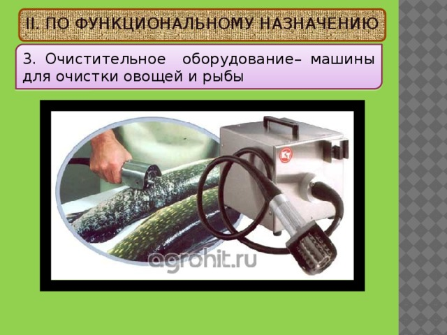 II. ПО ФУНКЦИОНАЛЬНОМУ НАЗНАЧЕНИЮ 3. Очистительное оборудование – машины для очистки овощей и рыбы