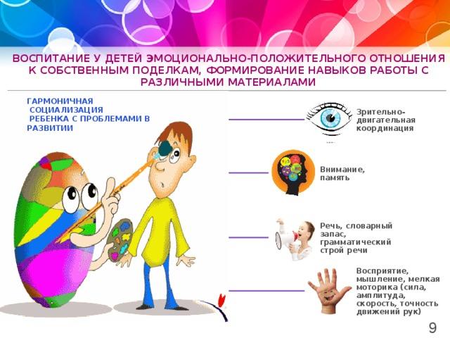 воспитание у детей эмоционально-положительного отношения к собственным поделкам, формирование навыков работы с различными материалами Гармоничная  социализация  ребенка с проблемами в развитии Зрительно-двигательная координация Внимание, память Речь, словарный запас, грамматический строй речи Восприятие, мышление, мелкая моторика (сила, амплитуда, скорость, точность движений рук) 9