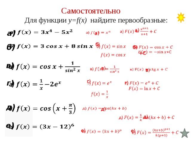 Решение задач на первообразная решение задач на время и скорость
