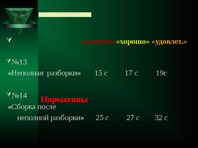 Нормативы  « отлично» «хорошо»  «удовлет.»      № 13  «Неполная разборки»  15 с 17 с  19с № 14  «Сборка после  неполной разборки» 25 с  27 с 32 с