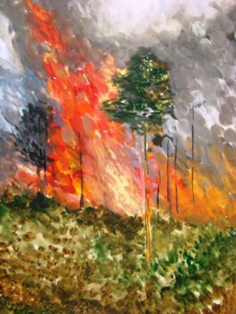 выборе лесной пожар рисунок гуашью сахарной или вафельной