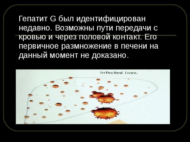Гепатит G был идентифицирован недавно. Возможны пути передачи с кровью и через половой контакт. Его первичное размножение в печени на данный момент не доказано.
