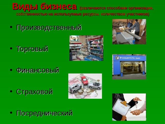 Виды бизнеса (различаются способами организации, собственностью на используемые ресурсы, количеством участников) Производственный  Торговый  Финансовый  Страховой  Посреднический