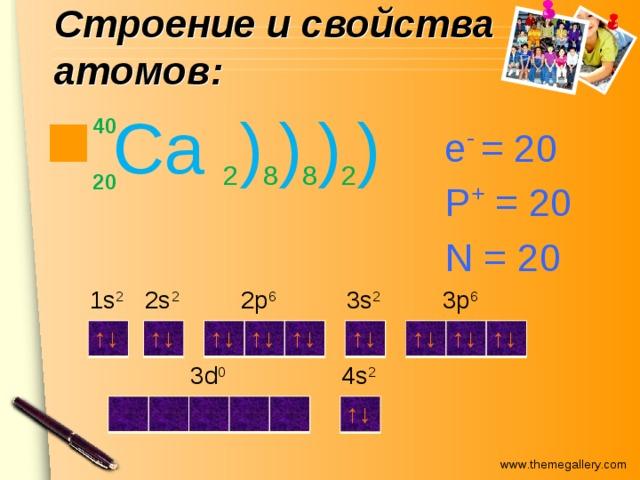 Строение и свойства атомов:  Ca 2 ) 8 ) 8 ) 2 ) 40 е - = 20 P + = 20 N = 20 20 2p 6 3p 6 3s 2 2s 2 1s 2 ↑↓ ↑↓ ↑↓ ↑↓ ↑↓ ↑↓ ↑↓ ↑↓ ↑↓ 4s 2 3d 0 ↑↓