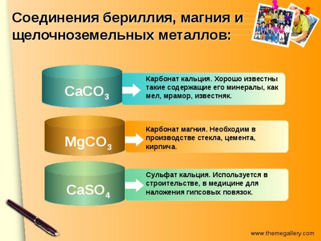 Соединения бериллия, магния и щелочноземельных металлов: Карбонат кальция. Хорошо известны такие содержащие его минералы, как мел, мрамор, известняк.  CaCО 3 Карбонат магния. Необходим в производстве стекла, цемента, кирпича.  MgCО 3 Сульфат кальция. Используется в строительстве, в медицине для наложения гипсовых повязок.  CaSО 4