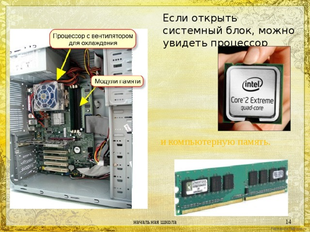 Если открыть системный блок, можно увидеть процессор и компьютерную память. начальная школа