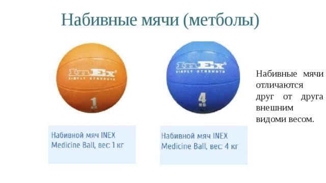Набивные мячи (метболы) Набивные мячи отличаются друг от друга внешним видоми весом.