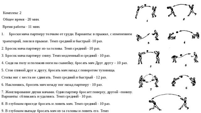 Комплекс 2 Общее время - 20 мин.  Время работы - 11 мин. Броски мяча партнеру толчком от груди. Варианты: в прыжке, с изменением  траекторий, ловля в прыжке. Темп средний и быстрый -10 раз. 2. Бросок мяча партнеру из-за головы. Темп средний - 10 раз. 3. Бросок мяча партнеру снизу. Темп медленный и средний - 10 раз. 4. Сидя на полу и положив ноги на скамейку, бросать мяч Друг другу – 10 раз. 5. Стоя спиной друг к другу, бросать мяч назад с поворотом туловища. Стопы ног с места не сдвигать. Темп средний и быстрый - 12 раз. 6. Наклоняясь, бросить мяч между ног назад партнеру - 10 раз. 7. Жонглирование двумя мячами. Один партнер бросает поверху, другой –понизу. Варианты: сближаясь и удаляясь. Темп средний - 10 раз. 8. В глубоком приседе бросать и ловить мяч. Темп средний - 10 раз. 9. В глубоком выпаде бросать мяч из-за головы и ловить его. Темп средний - 10 раз.