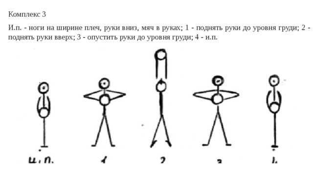 Комплекс 3 И.п. - ноги на ширине плеч, руки вниз, мяч в руках; 1 - поднять руки до уровня груди; 2 - поднять руки вверх; 3 - опустить руки до уровня груди; 4 - и.п.