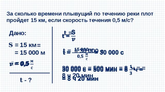 За сколько времени плывущий по течению реки плот пройдет 15 км, если скорость течения 0,5 м/с? Дано: 𝐭 =  𝐒 = 15 км  = = 15 000 м 𝐭 = = 30 000 с  𝒗 = 0,5  30 000 с = 500 мин = 8 ч = = 8 ч 20 мин  𝐭 - ?