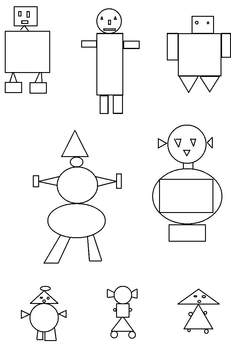 несложные картинки из геометрических фигур качестве основного наполнителя