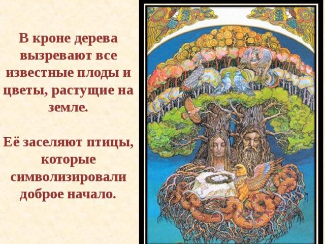 В кроне дерева вызревают все известные плоды и цветы, растущие на земле.  Её заселяют птицы, которые символизировали доброе начало.