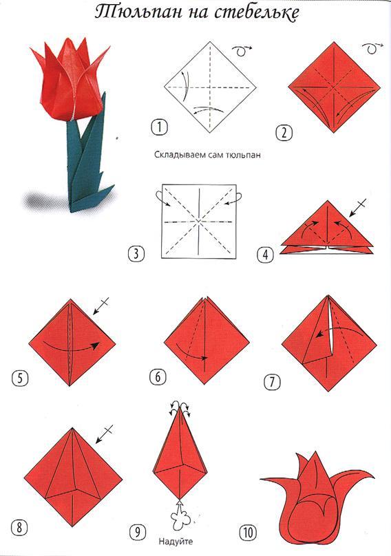 Открытки открытки, как сделать тюльпан на открытку