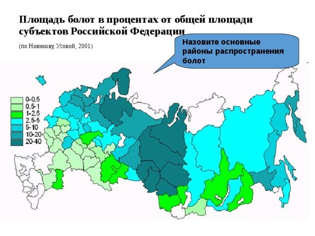 Площадь болот в процентах от общей площади субъектов Российской Федерации (по Новикову, Усовой, 2001) Назовите основные районы распространения болот