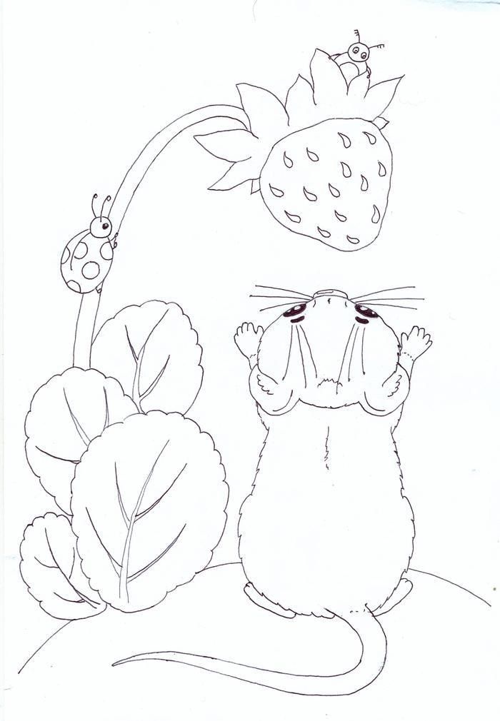 Картинка раскраска мышонок пик бианки