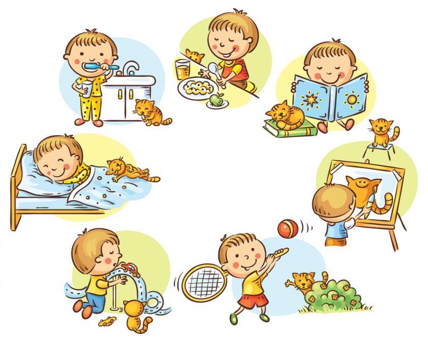 Смешной распорядок дня в картинках для детей
