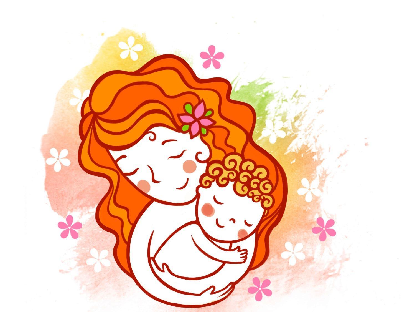 Мама с ребенком картинки для детей нарисованные