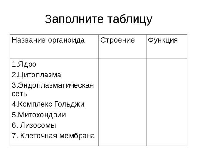 Заполните таблицу Название органоида Строение 1.Ядро 2.Цитоплазма 3.Эндоплазматическая сеть 4.Комплекс Гольджи 5.Митохондрии 6. Лизосомы 7. Клеточная мембрана Функция