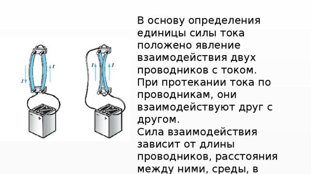 В основу определения единицы силы тока положено явление взаимодействия двух проводников с током. При протекании тока по проводникам, они взаимодействуют друг с другом. Сила взаимодействия зависит от длины проводников, расстояния между ними, среды, в которой находятся проводники, и от силы тока в проводниках.