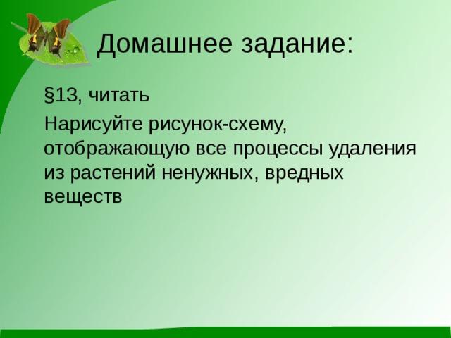 Домашнее задание:  §13, читать  Нарисуйте рисунок-схему, отображающую все процессы удаления из растений ненужных, вредных веществ