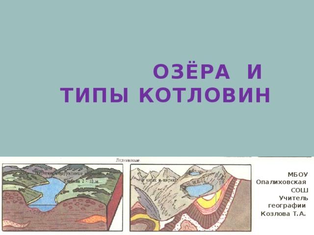 Озёра и  типы котловин МБОУ Опалиховская СОШ Учитель географии Козлова Т.А.