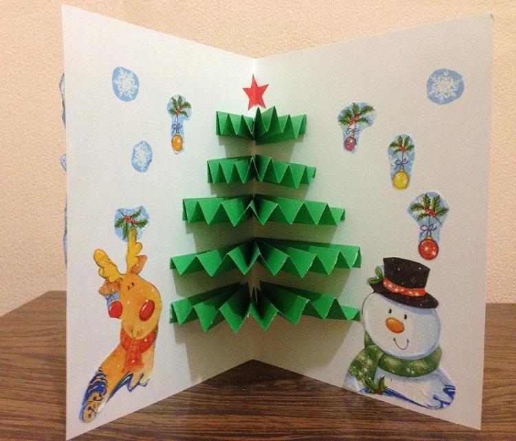 как сделать открытку елка гармошка уже
