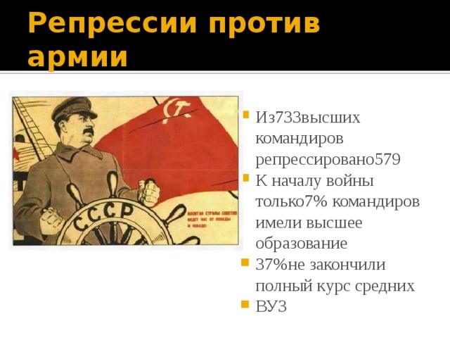 Репрессии против армии Из733высших командиров репрессировано579 К началу войны только7% командиров имели высшее образование 37%не закончили полный курс средних ВУЗ