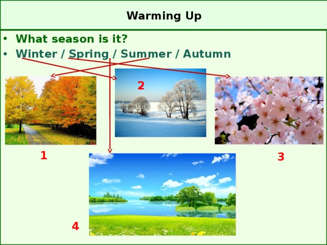 Warming Up What season is it? Winter / Spring / Summer / Autumn 2  1  3 4