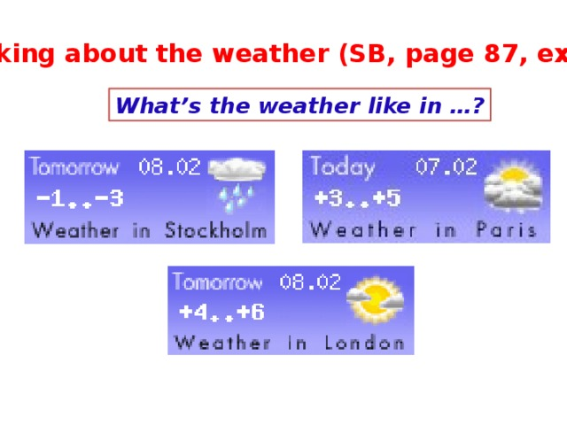 Talking about the weather (SB, page 87, ex.7) What's the weather like in …?