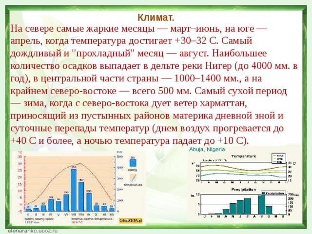 Климат. На севере самые жаркие месяцы — март–июнь, на юге — апрель, когда температура достигает +30–32 C. Самый дождливый и