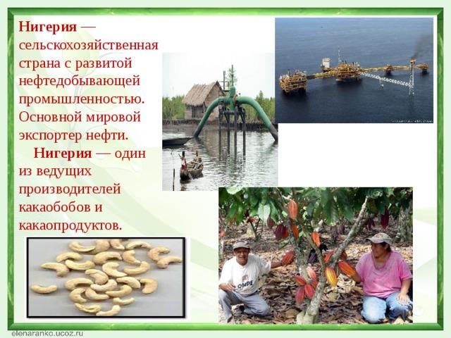 Нигерия —сельскохозяйственная страна с развитой нефтедобывающей промышленностью. Основной мировой экспортер нефти.  Нигерия — один из ведущих производителей какаобобов и какаопродуктов.